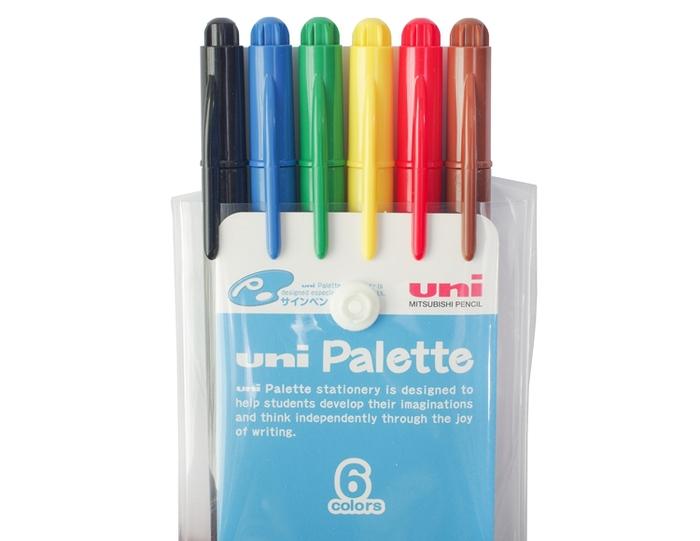 日本UNI|食用染料簽字筆Palette水性彩色筆6色組 (PW-503 6C PLT)