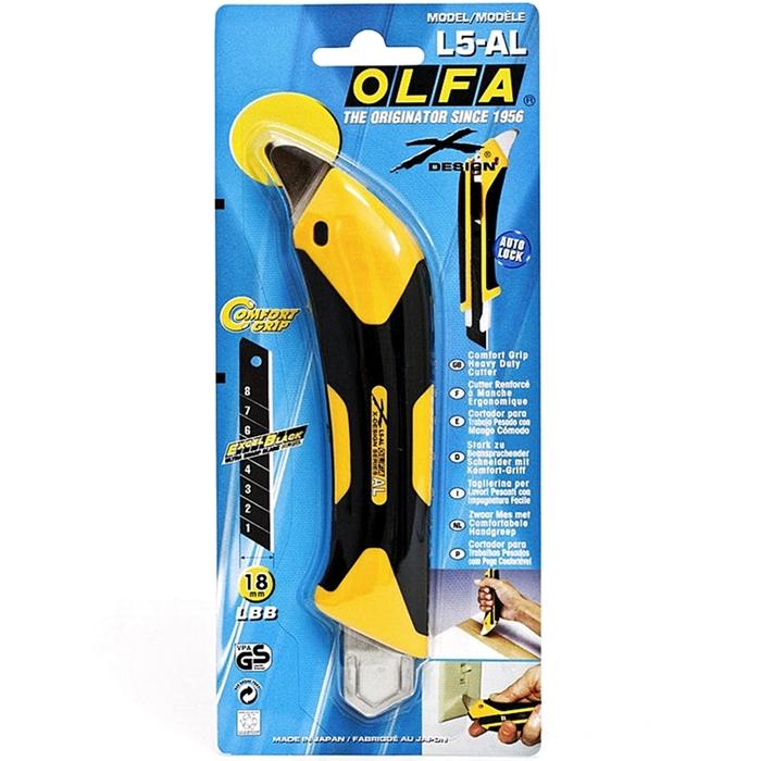 日本OLFA|易握X系列大型美工刀 (抗丙酮;18mm塗氟LBF黑刃片自動鎖定;品番227B;L5-AL/LFB/BP)
