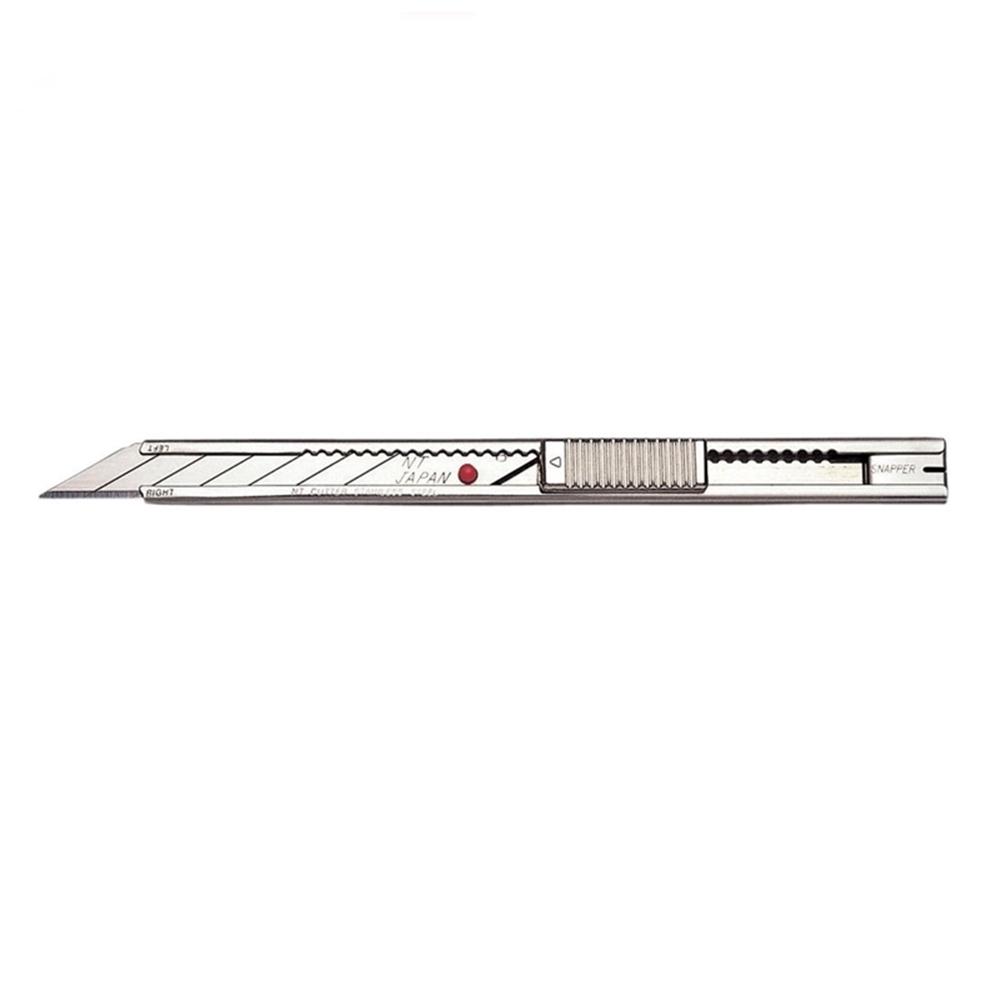 日本NT Cutter|銳角30度美工刀細工刀 ( 金屬握把;左撇子亦適;齒槽密;自動鎖定刀片;AD-2P )