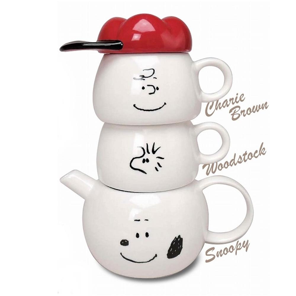 日本MARIMO CRAFT 史努比SNOOPY茶壼茶杯組TEA FOR TWO史奴比( 瓷製;含一壼二杯,SPY-386 )