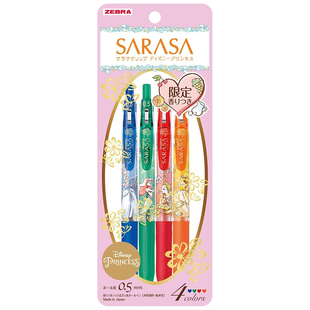 日本ZEBRA |DISNEY迪士尼公主系列 SARASA原子筆香香筆(筆芯:0.5mm ; JJ29-DSP-4C)