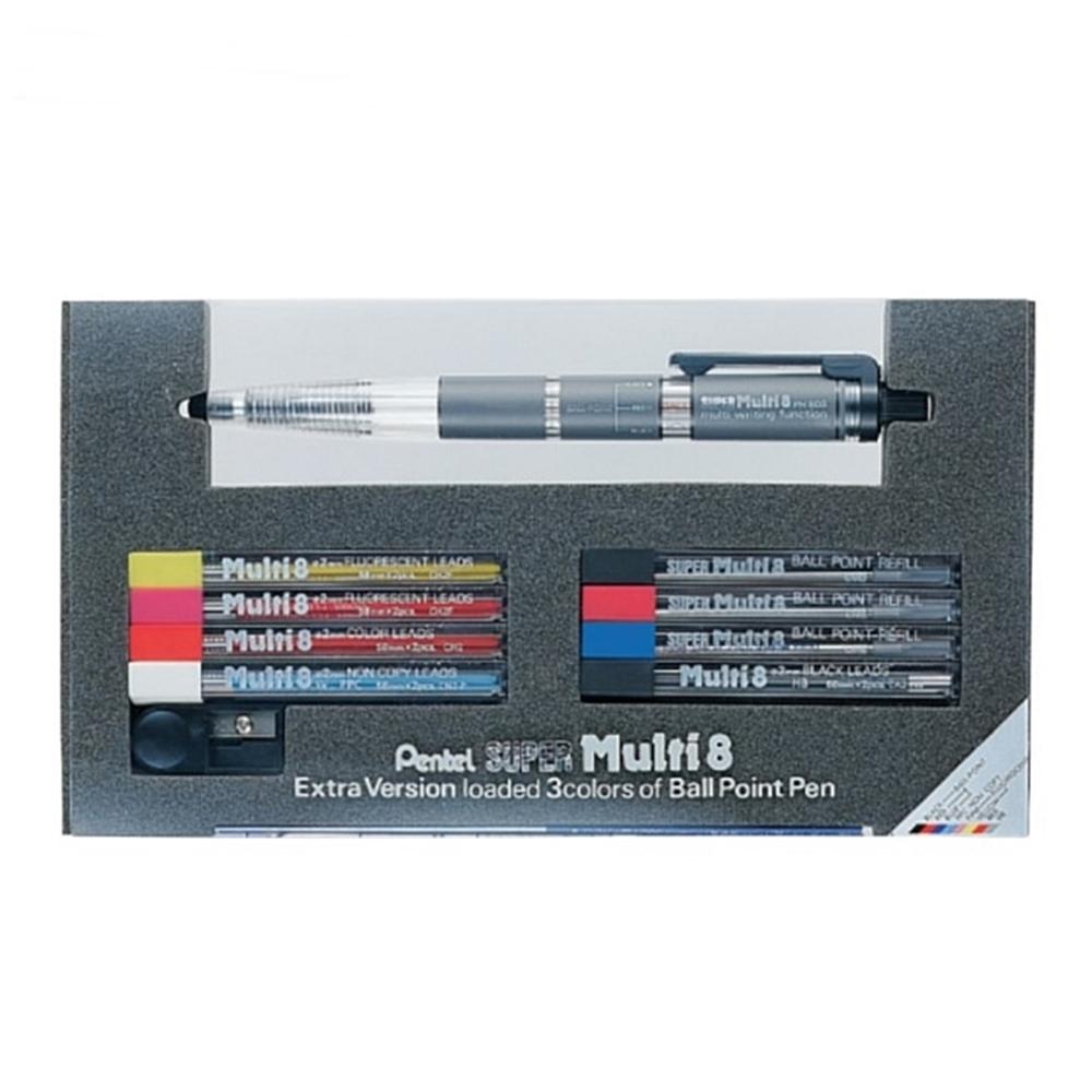 日本Pentel飛龍|Super Multi 8八合一機能筆彩色鉛筆組(2mm筆芯 ; PH803ST)