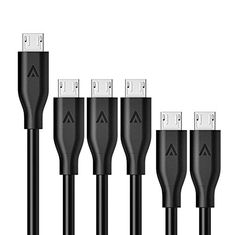美國Anker|PowerLine Micro USB數據充電線6條 ( 1ft/0.3米X2,3ft/0.9米X3,6ft/1.8米X1 ; B8133012 )