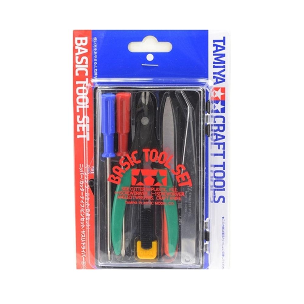 日本田宮TAMIYA|基本塑膠模型工具組( 斜口鉗.一字/十字起子.銼刀.鑷子.美工刀;74016)
