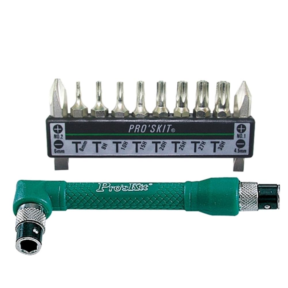 台灣Pro'sKit寶工|10合1雙頭L型替換螺絲起子組(10種12用鉻釩鋼精製起子頭; 1PK-212H )