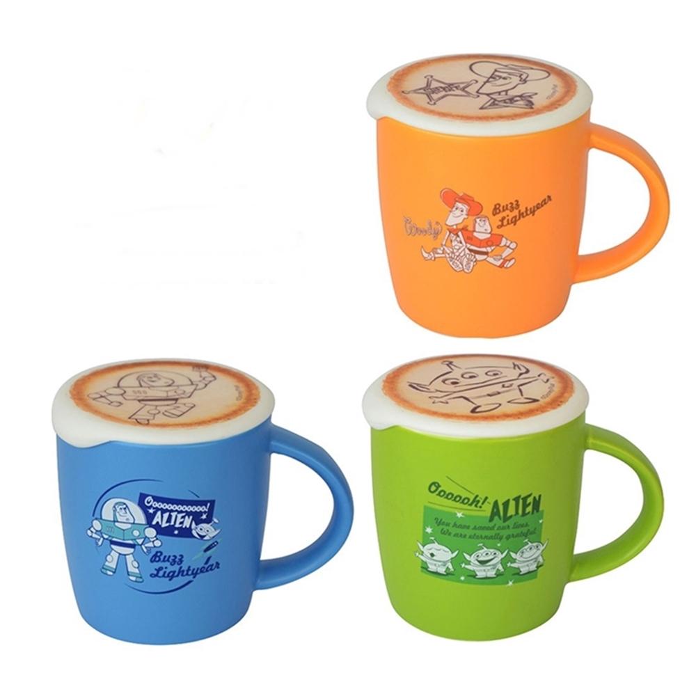 日本Entrex|玩具總動員Latte Art馬克杯咖啡杯(附拉花矽膠杯蓋;胡迪/巴斯光年/三眼怪;#1435)