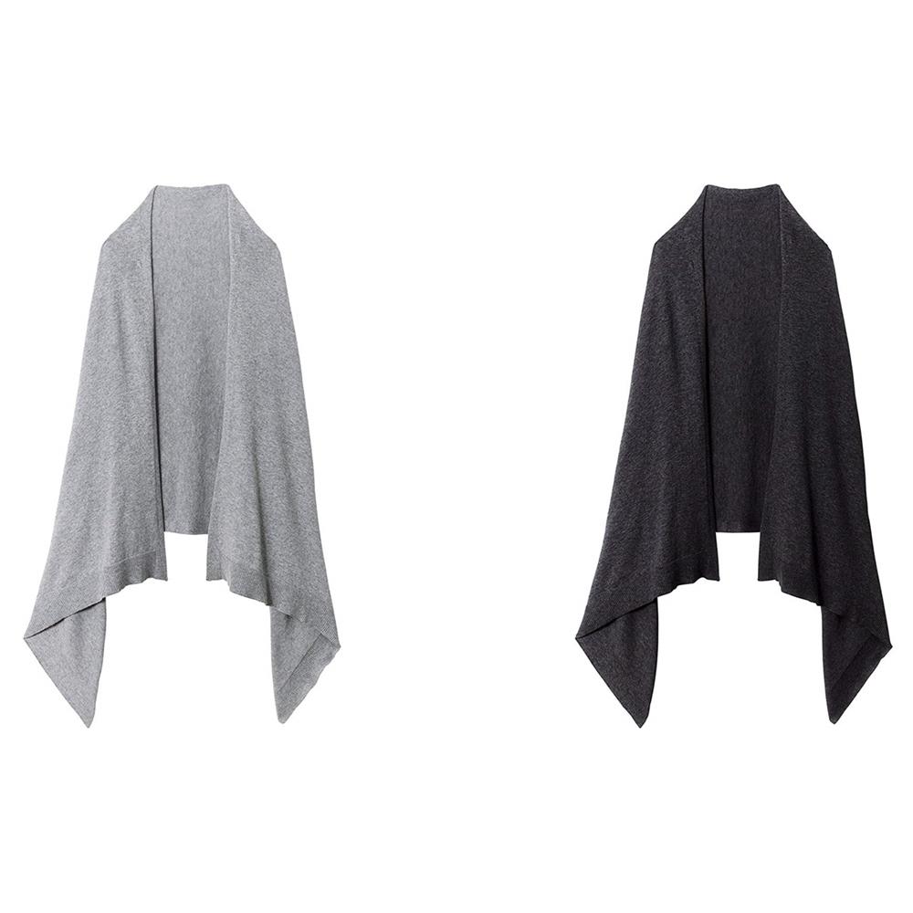 日本COGIT|兩用KNIT編織CAPE STOLE素面發熱纖維披肩圍脖圍巾 (#9043系列)