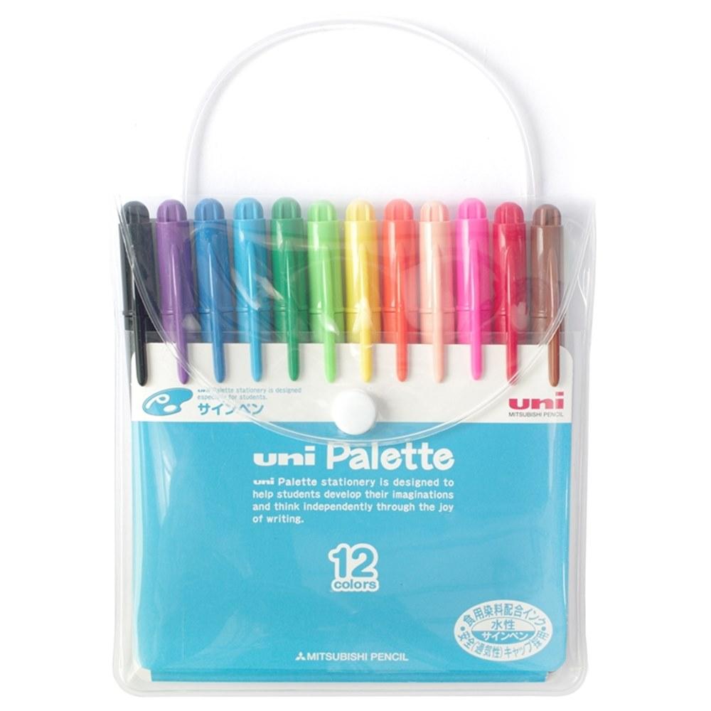 日本UNI|食用染料簽字筆Palette水性彩色筆12色組 (PW-503 12C PLT)