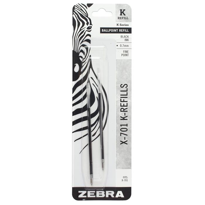 日本ZEBRA|斑馬X-701筆芯2入組 ( 黑色油性,0.7 mm筆芯;K-REFILL )