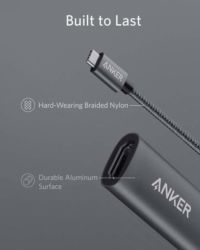 美國Anker|Type-C即USB-C轉HDMI連接線4K解析度轉接器 ( A83120A1 )