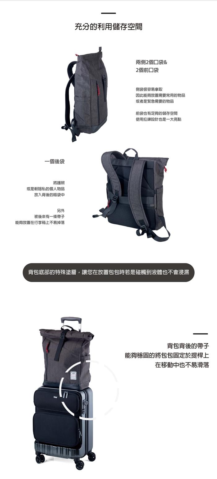 德國TROIKA 商務出差空間可調捲捲背包收納後揹包 (BBG51/GY)
