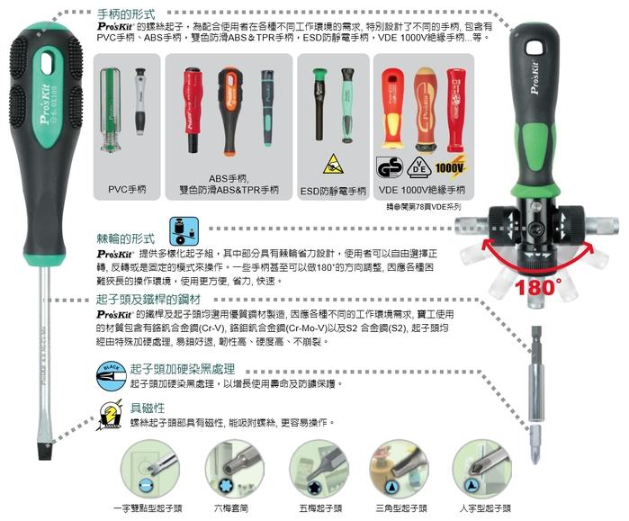 台灣Pro'sKit寶工|綠黑花豹十,一字精密起子組 ( 7支 ;  SD-081A )