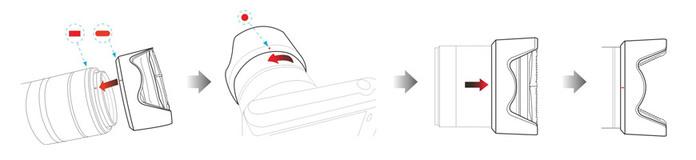 (複製)台灣HOOCAP|二合一鏡頭蓋兼遮光罩( 相容Canon原廠遮光罩EW-54 ; M6652D )