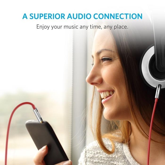 美國Anker|Premium Auxiliary 3.5mm耳機孔AUX-IN音源線 ( 黑色,4ft即120公分 ; A7123011 )