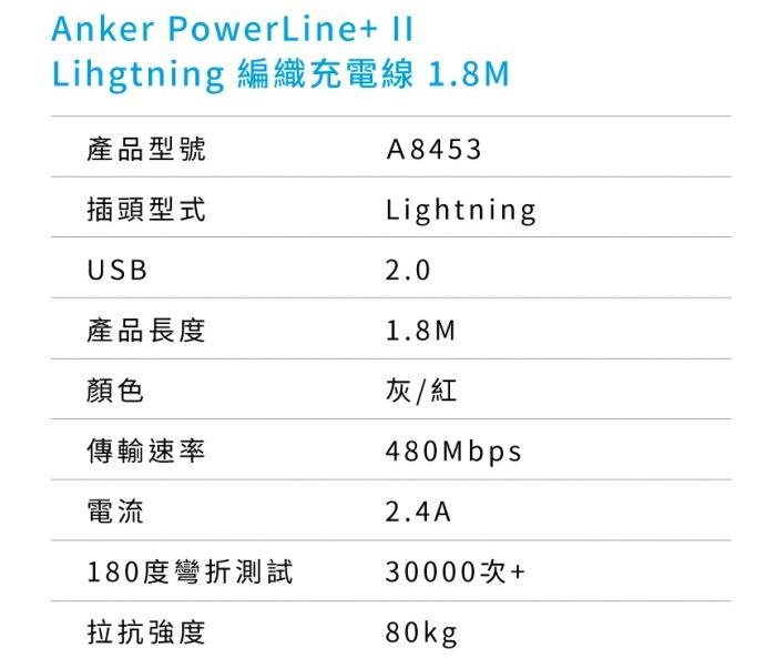 美國ANKER|PowerLine+編織II Apple蘋果Lightning數據傳輸充電線 ( A8453H系列 )