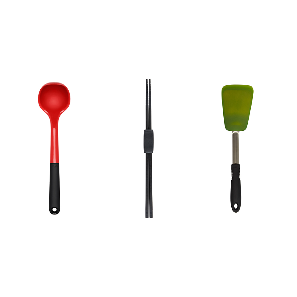 OXO|全能燉炒不傷鍋三件組(好好握矽膠料理長筷、矽膠長柄杓 、矽膠不銹鋼鍋鏟)