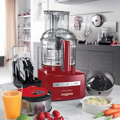 MAGIMIX|萬用食物處理機-5200L (贈冷壓蔬果機、電子料理秤、氣密盒三件組) 魅力紅