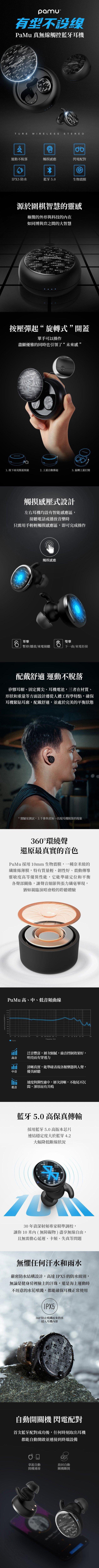 【集購】PAMU │ 真無線藍芽觸控耳機(兩色任選)