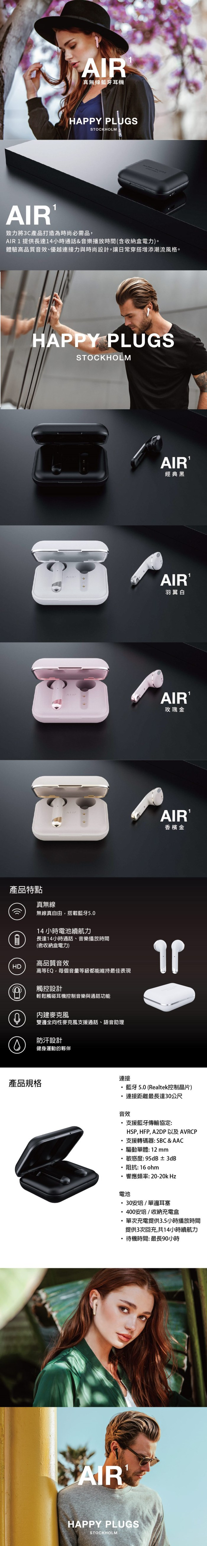HAPPY PLUGS Air 1真無線藍牙耳機(經典黑)