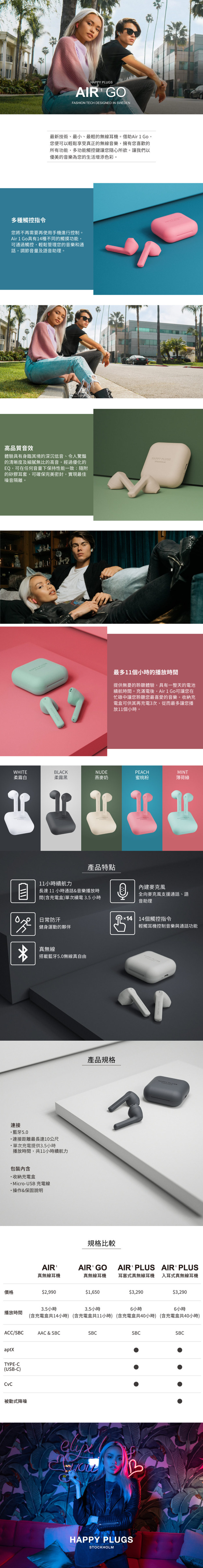 (複製)Happy Plugs Air 1 Plus In-Ear 真無線藍牙耳道式耳機 - 白大理石 White Marble