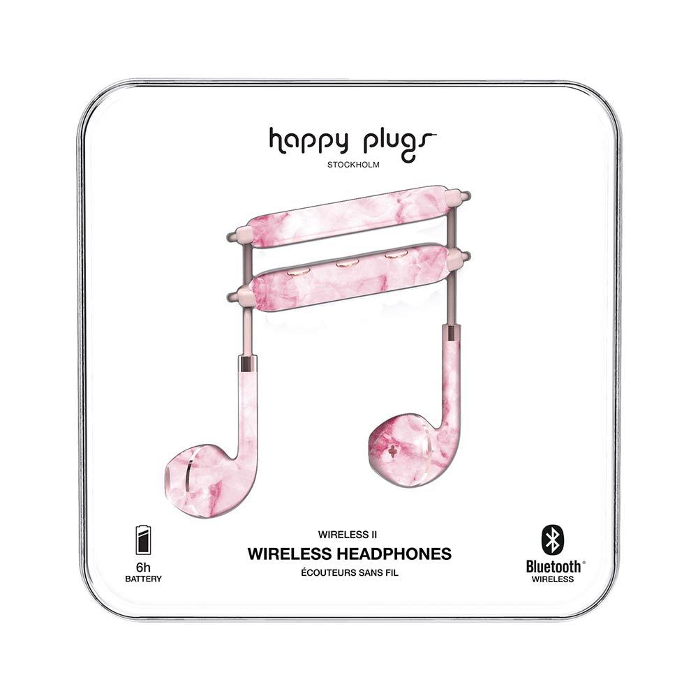 HAPPY PLUGS Earbud Plus Wireless II 極簡時尚藍牙耳機(粉色大理石)