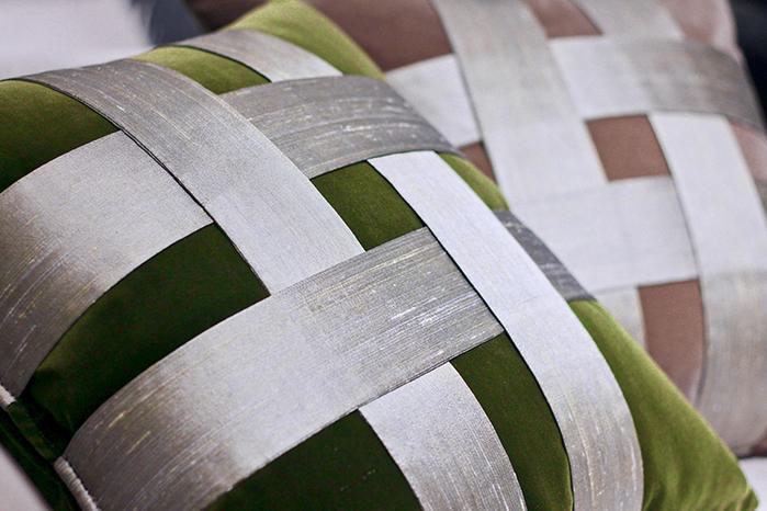 MULA DECO|十字編織手工絨布抱枕 Ø30cm (綠)