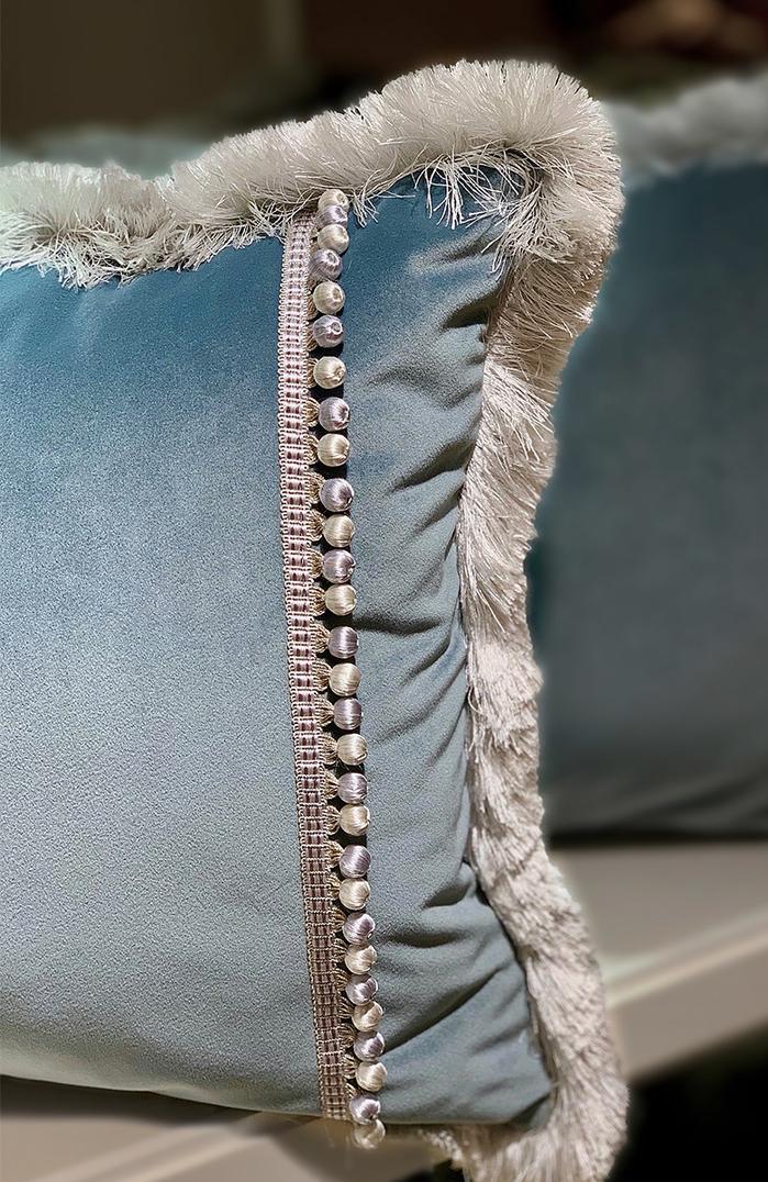MULA DECO|藍色流蘇滾邊抱枕