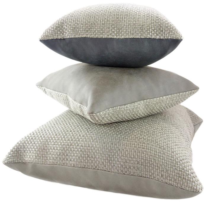 (複製)MULA DECO|編織皮抱枕 45x45cm (正面暖灰色+背面灰色)