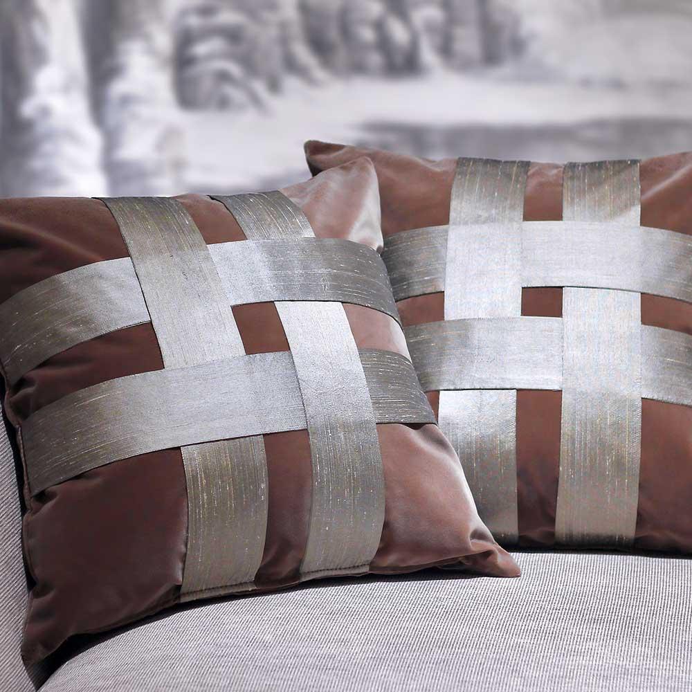 MULA DECO|井飾絲綢編織手工棉絨抱枕 50cm (紅鳶色)