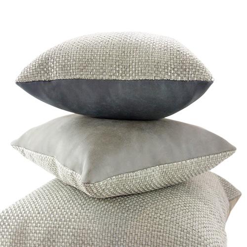 MULA DECO|編織皮抱枕 45x45cm (正面暖灰色+背面黑色)