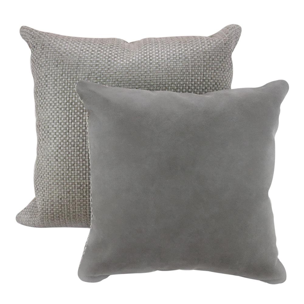 MULA DECO|編織皮抱枕 45x45cm (正面暖灰色+背面灰色)