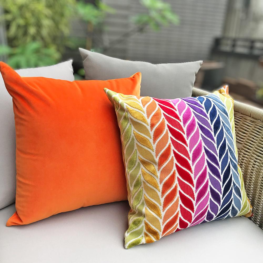 MULA DECO 色彩幾何拼接手工抱枕 (花紋、單色橘2件組)
