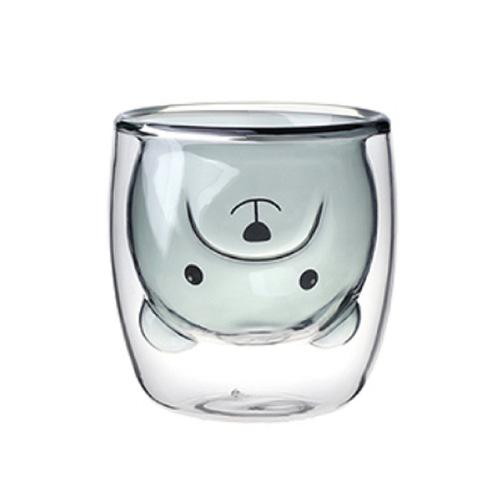 EILONG台灣宜龍 雙層玻璃暗黑熊杯  (250ml)