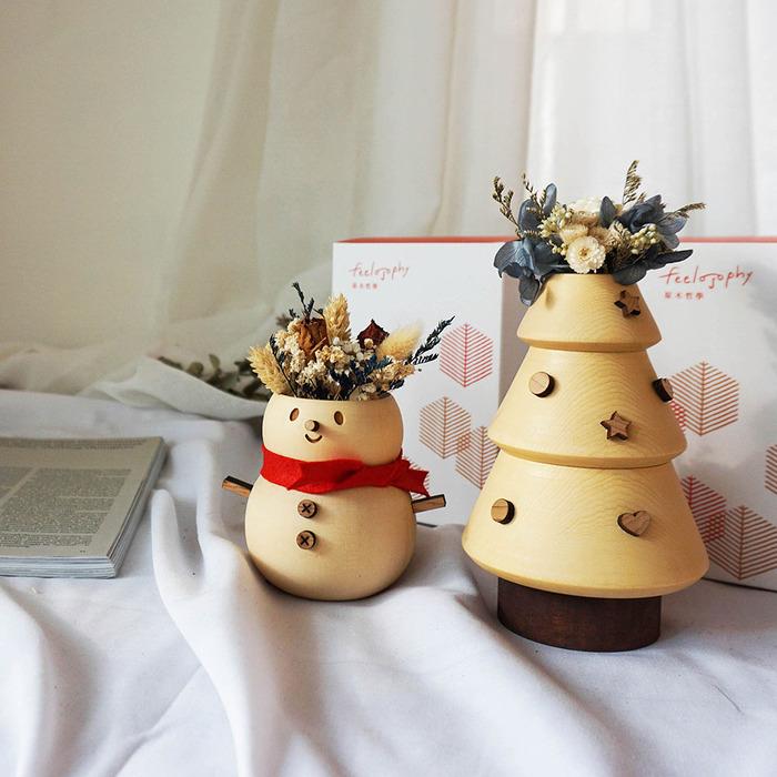 原木哲學feelosophy| 聖誕檜木花器 一組 雪人 聖誕樹 贈永生花 乾燥花材