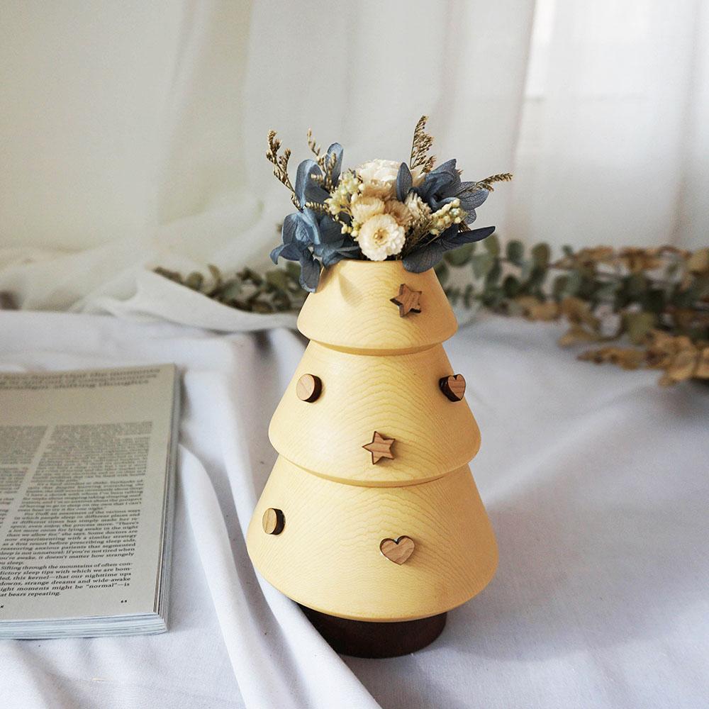 原木哲學feelosophy  聖誕檜木花器  聖誕樹  贈永生花 乾燥花材