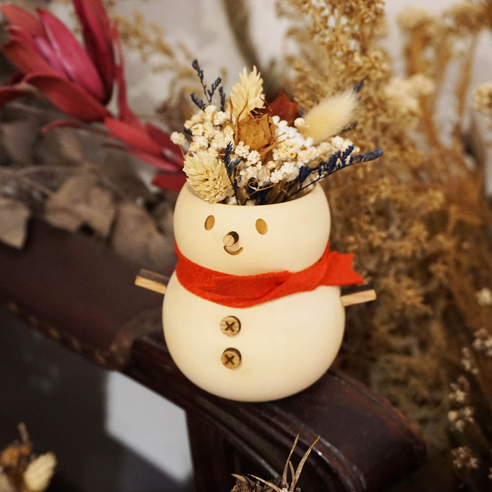 原木哲學feelosophy  聖誕檜木花器  雪人  贈永生花 乾燥花材