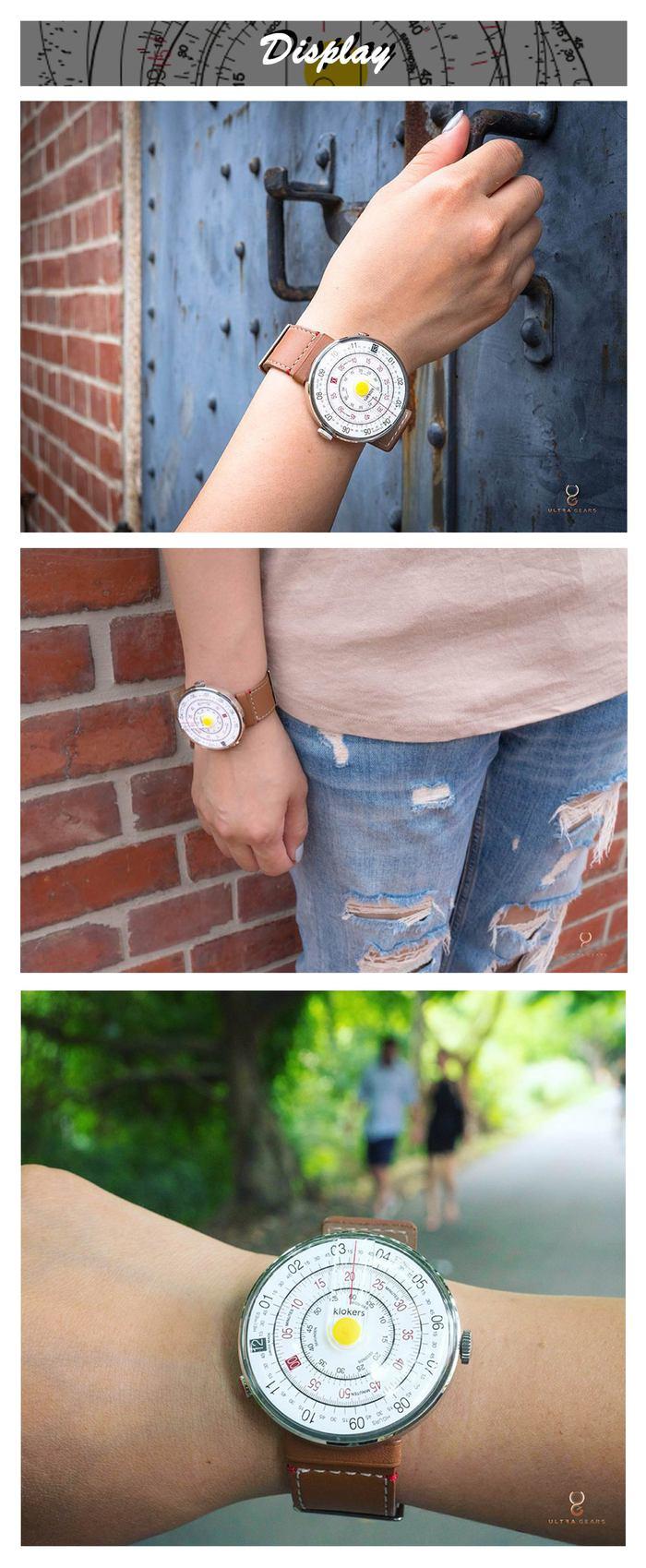 klokers【庫克錶】KLOK-01-D1 黃色錶頭+單圈寬版皮革錶帶