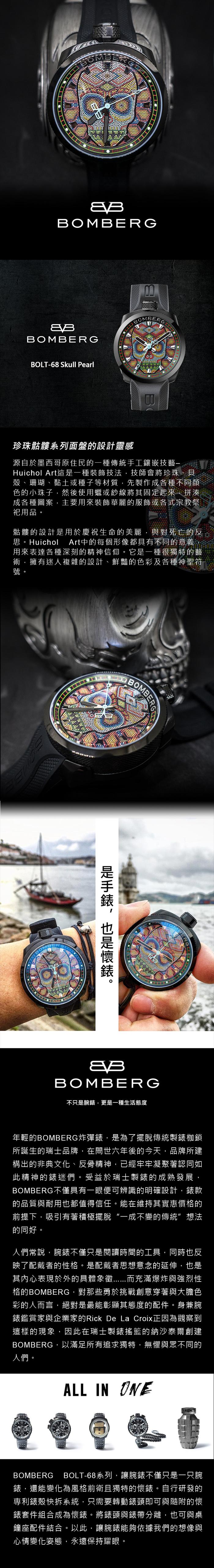 BOMBERG | BOLT-68 彩色珍珠骷髏計時碼錶