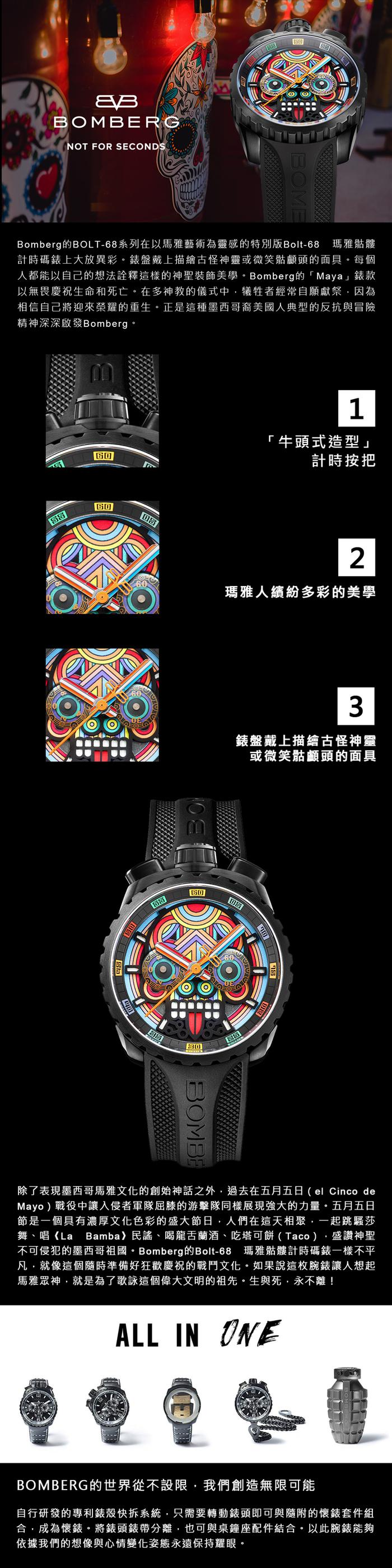 (複製)BOMBERG   BOLT-68 彩色珍珠骷髏計時碼錶