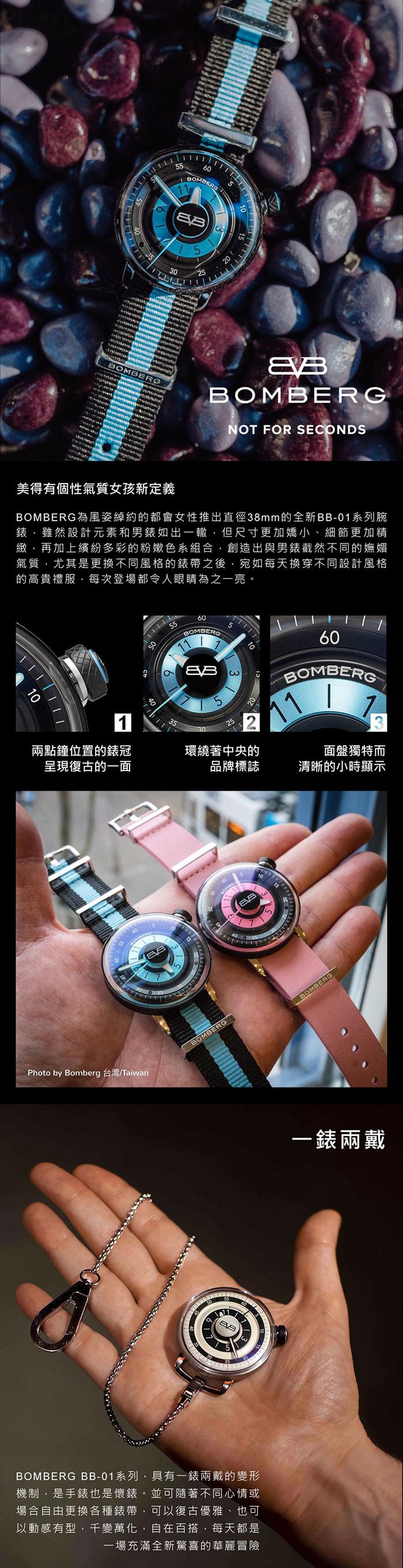 BOMBERG | BB-01 藍色帆布帶錶款 | 錶徑 38mm