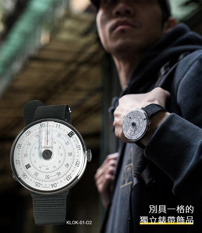 klokers | KLOK-01-D2 錶頭 灰色 - 尼龍錶帶