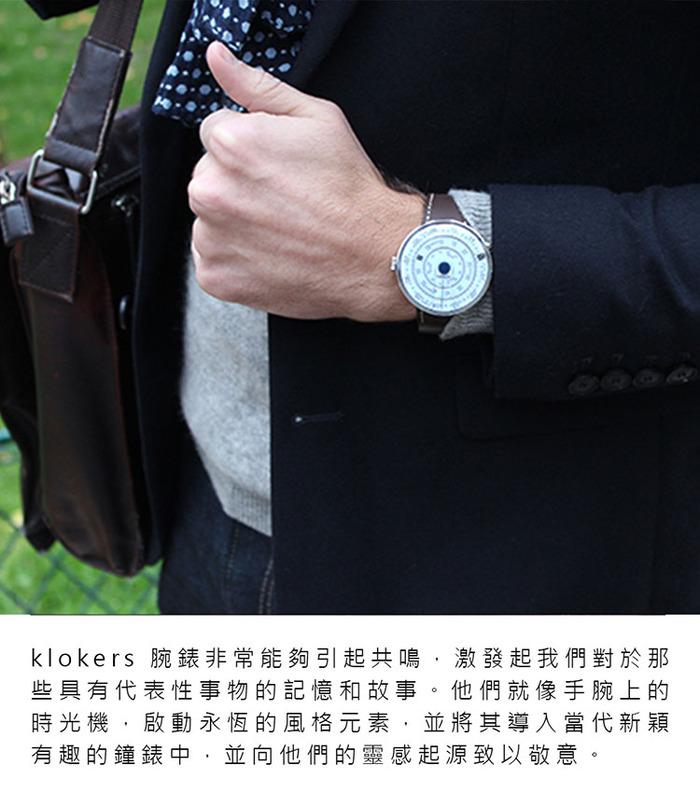 klokers | KLOK-01-D2錶頭 灰色 - 單圈皮革錶帶