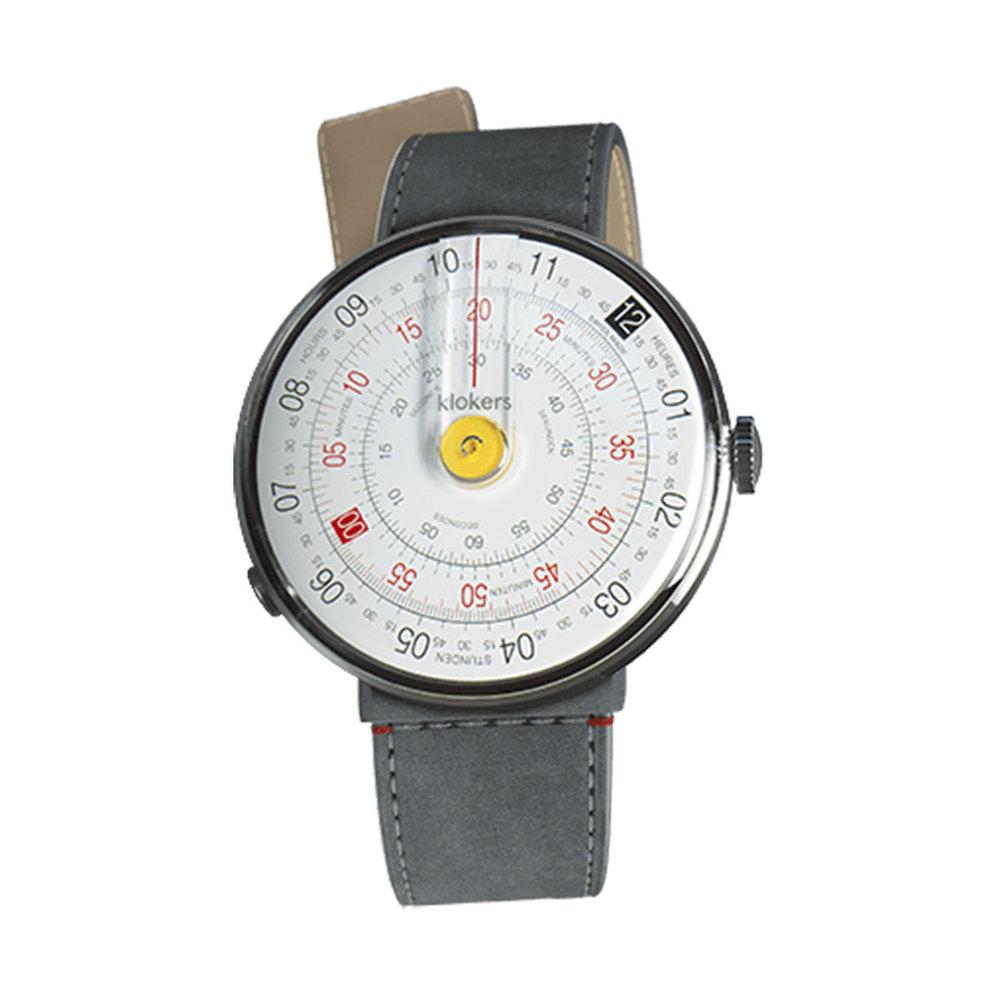 klokers | KLOK-01-D1錶頭 黃色 - 單圈寬版皮革錶帶