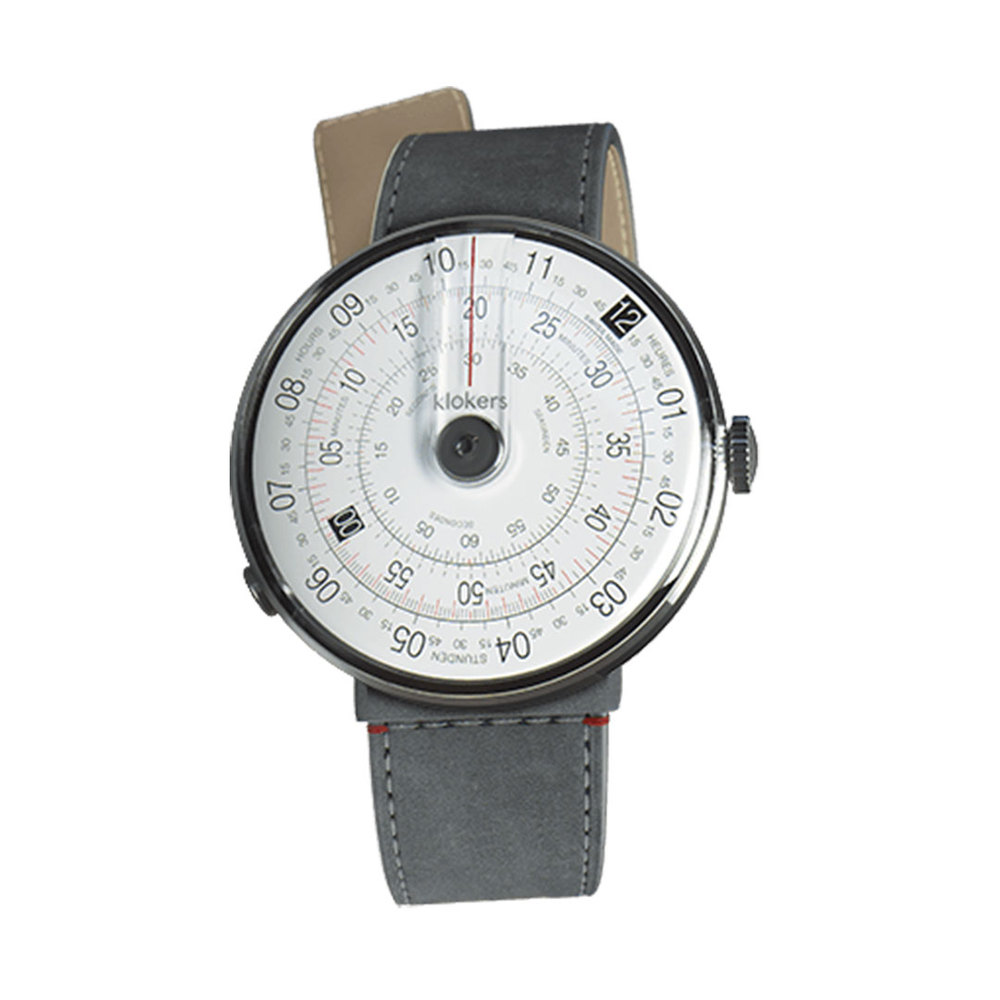 klokers | KLOK-01-D2錶頭 灰色 - 單圈寬版皮革錶帶