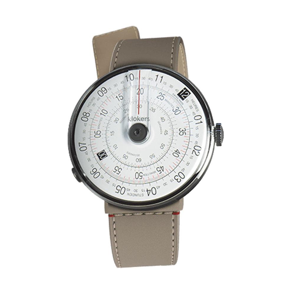 klokers   KLOK-01-D2錶頭 灰色 - 單圈寬版皮革錶帶