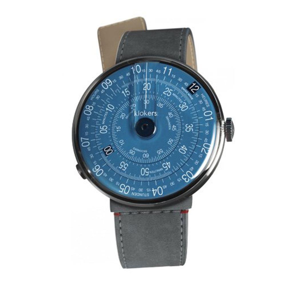 klokers | KLOK-01-D7錶頭 午夜藍色 - 單圈寬版皮革錶帶