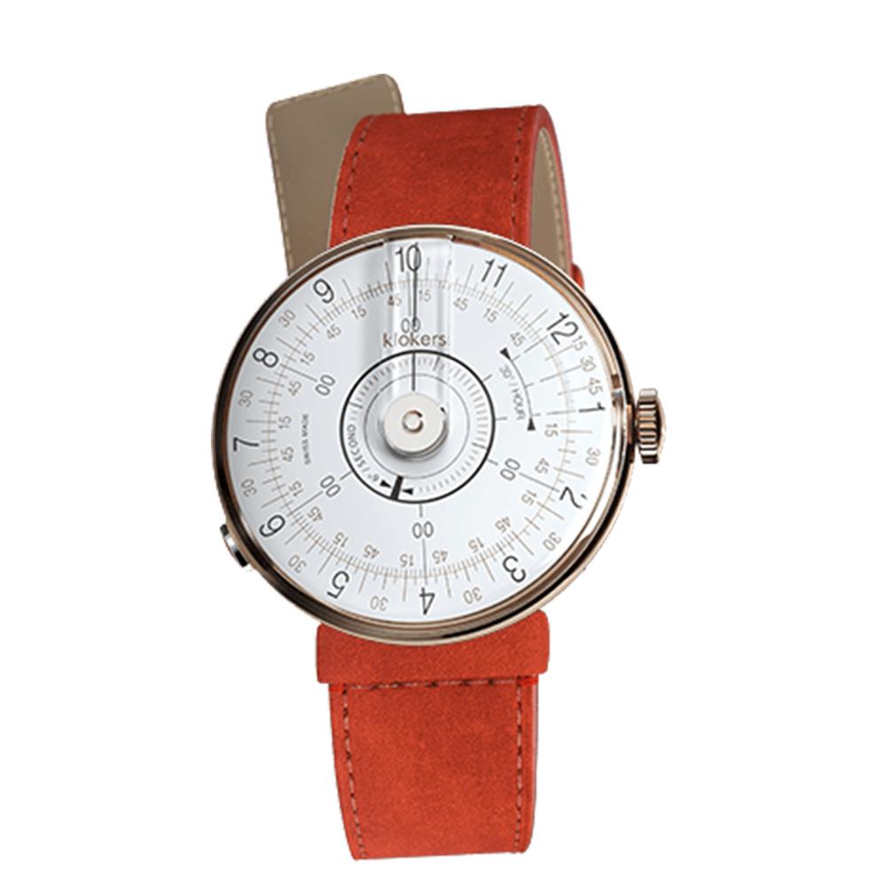 klokers | KLOK-08-D1錶頭 白軸 - 單圈細直皮革錶帶