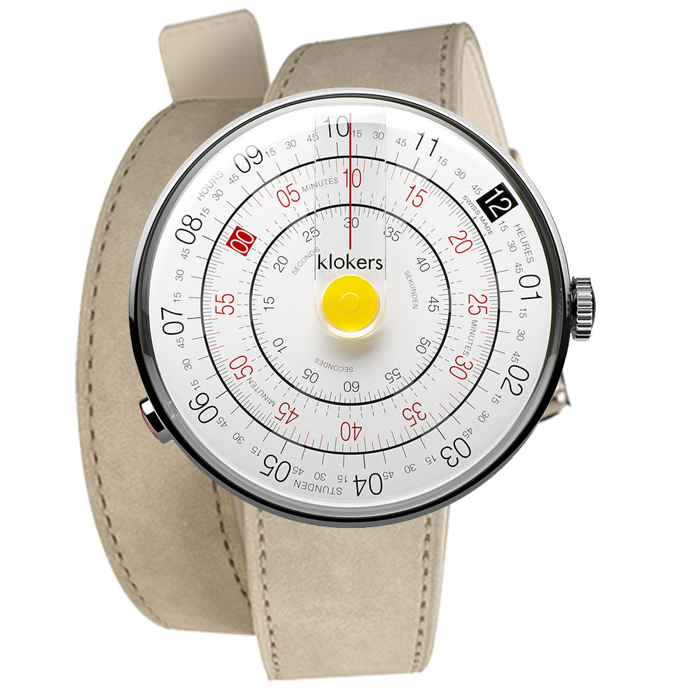 klokers|KLOK-01-D1黃色錶頭-雙圈皮革錶帶_錶徑44mm