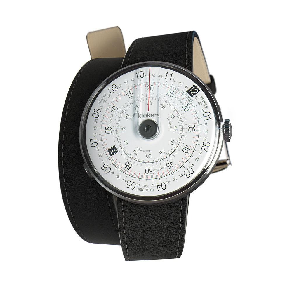 klokers | KLOK-01-D2錶頭 灰色 - 雙圈皮革錶帶