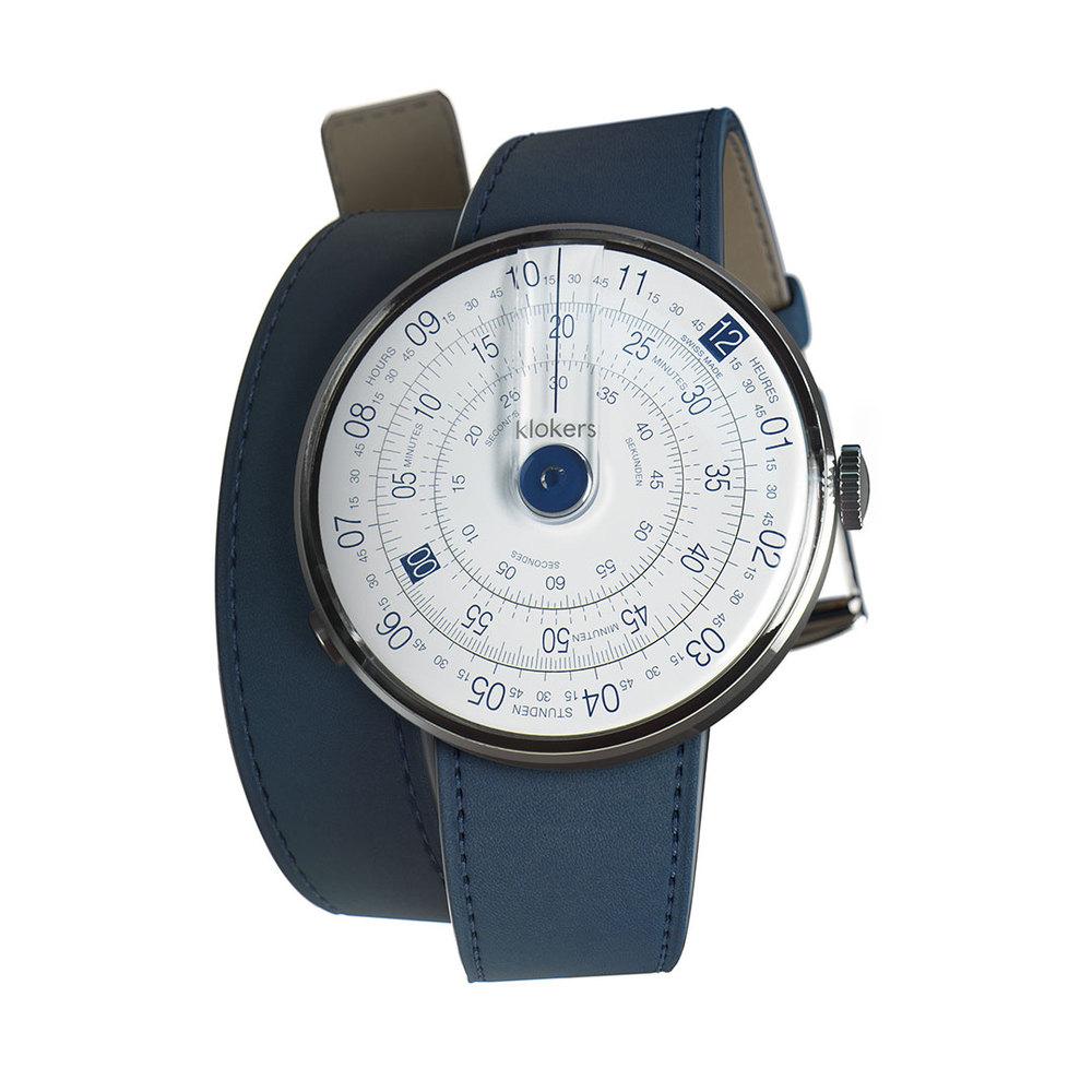 klokers | KLOK-01-D4錶頭 藍色 - 雙圈皮革錶帶